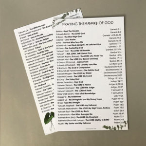 Praying the Names of God Prayer Card - Sharon Jaynes